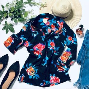 Anthro 'Maeve' black floral print button up blouse